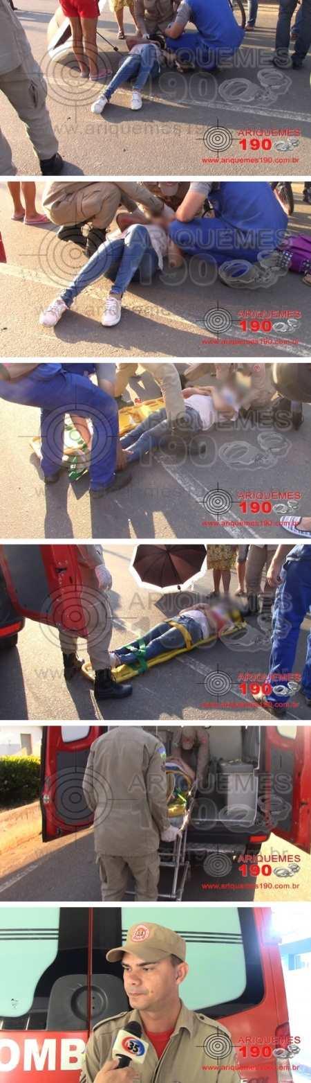O acidente aconteceu no setor 5 na Av Guaporé (Foto: Ariquemes190.com.br)